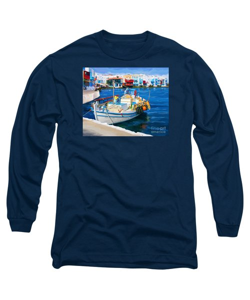 Long Sleeve T-Shirt featuring the painting Boat In Greece by Tim Gilliland