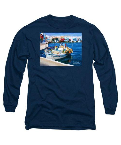 Boat In Greece Long Sleeve T-Shirt