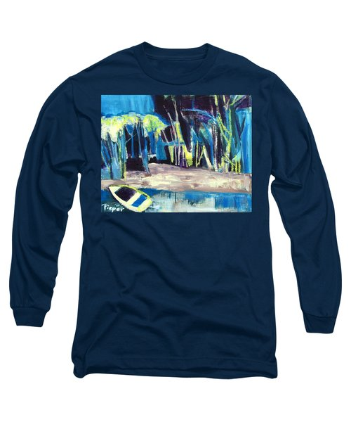 Boat On Shore Line With Trees On Land Long Sleeve T-Shirt