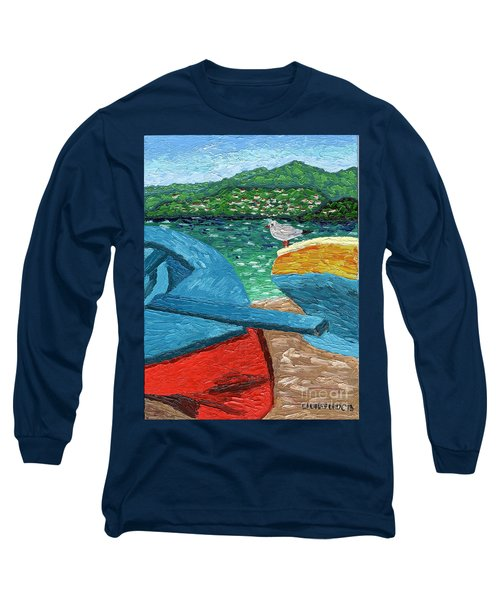 Boats And Bird At Rest Long Sleeve T-Shirt by Laura Forde