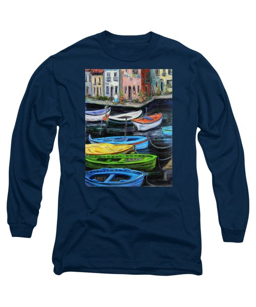 Long Sleeve T-Shirt featuring the painting Boats In Front Of The Buildings II by Xueling Zou