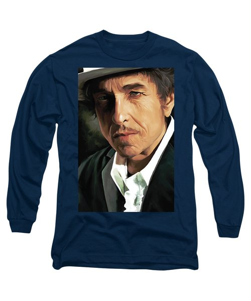 Bob Dylan Artwork Long Sleeve T-Shirt by Sheraz A