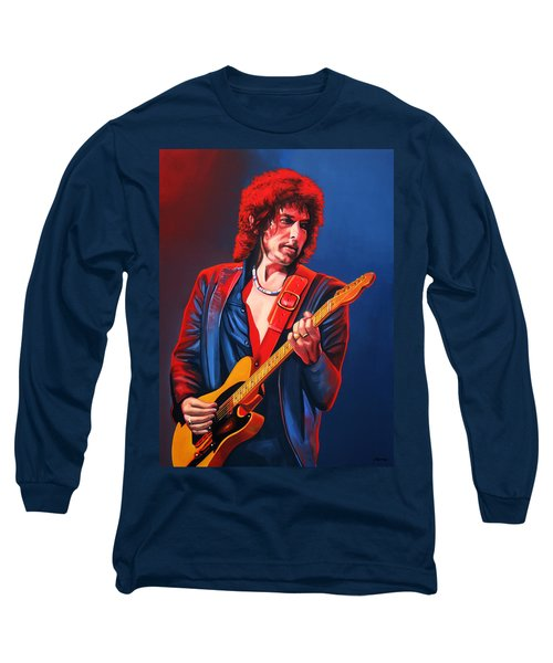 Bob Dylan Painting Long Sleeve T-Shirt by Paul Meijering