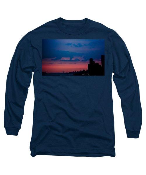 Brooklyn Bridge Sunrise Long Sleeve T-Shirt by Sara Frank