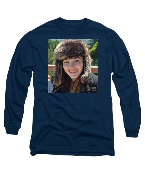 Long Sleeve T-Shirt featuring the photograph Brown Haired And Freckle Faced Natural Beauty Model Wearing A Hat by Jim Fitzpatrick
