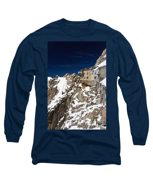Long Sleeve T-Shirt featuring the photograph building in Aiguille du Midi - Mont Blanc by Antonio Scarpi