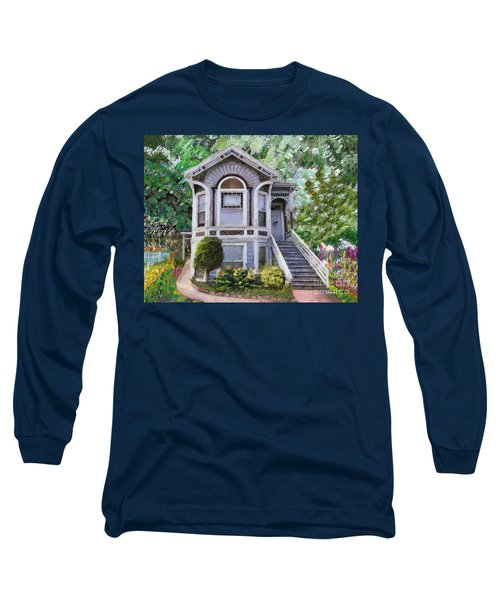 Long Sleeve T-Shirt featuring the painting Alameda 1895 Queen Anne by Linda Weinstock