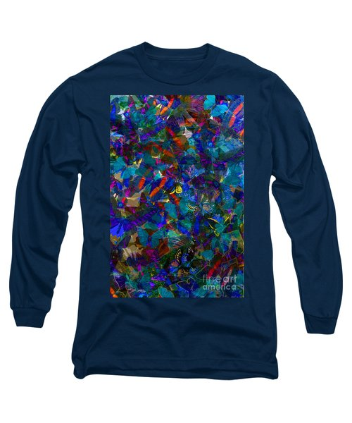 Long Sleeve T-Shirt featuring the photograph Butterfly Collage Blue by Robert Meanor