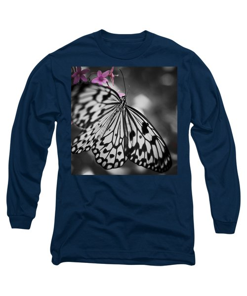 Butterfly On Pink Flowers Long Sleeve T-Shirt by Bradley R Youngberg