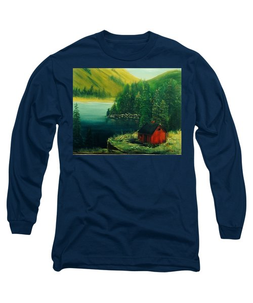 Cabin In The Catskills Long Sleeve T-Shirt by Catherine Swerediuk