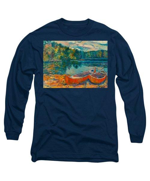 Canoes At Mountain Lake Long Sleeve T-Shirt