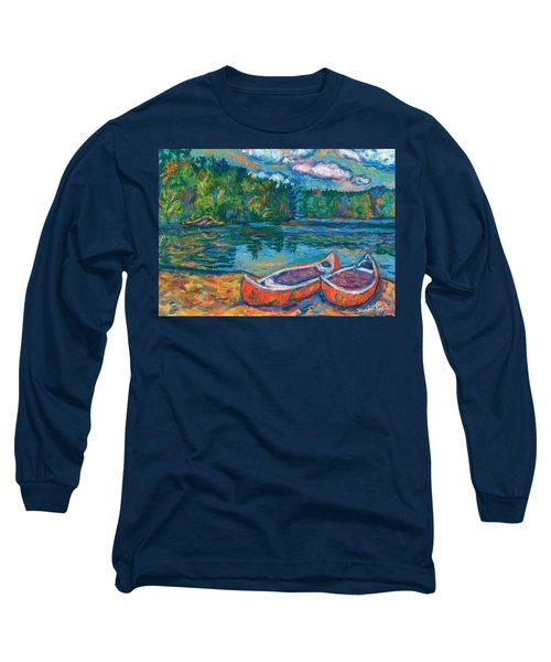 Canoes At Mountain Lake Sketch Long Sleeve T-Shirt by Kendall Kessler