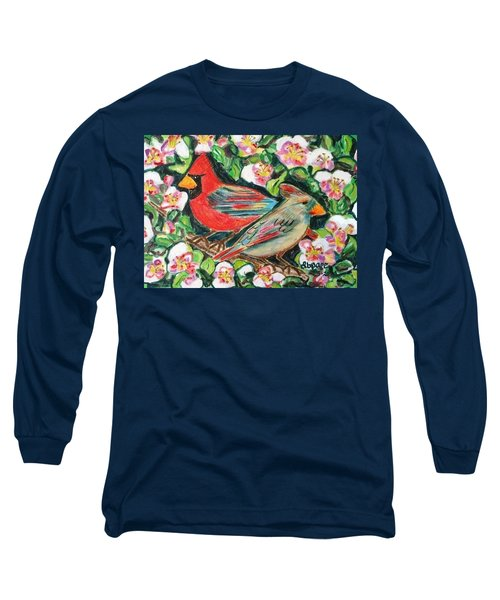 Cardinals In An Apple Tree Long Sleeve T-Shirt