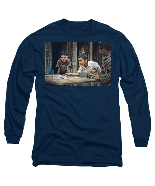 Carrom Boys Long Sleeve T-Shirt by Valerie Rosen