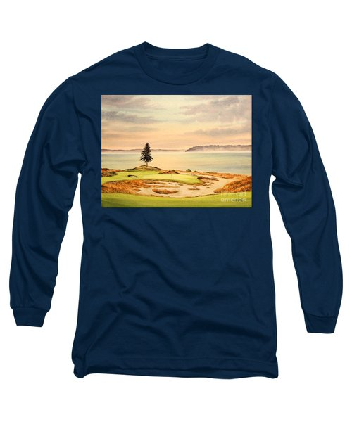 Long Sleeve T-Shirt featuring the painting Chambers Bay Golf Course Hole 15 by Bill Holkham