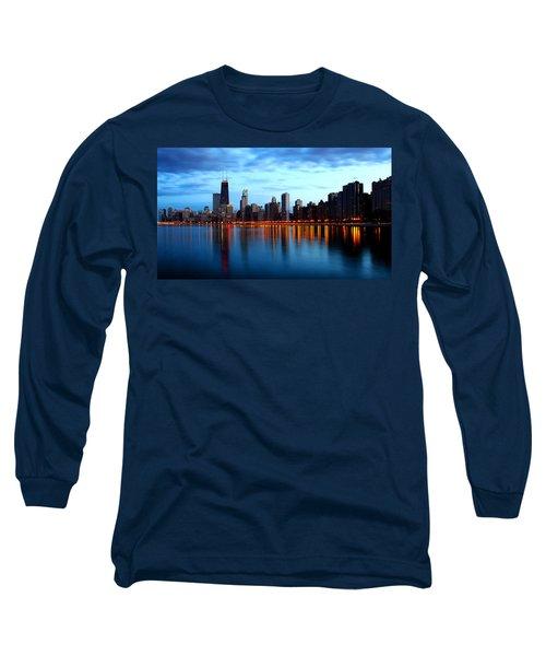 Chicago Skyline Dusk Long Sleeve T-Shirt