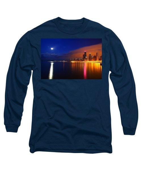 Chicago Skyline Moonlight Long Sleeve T-Shirt