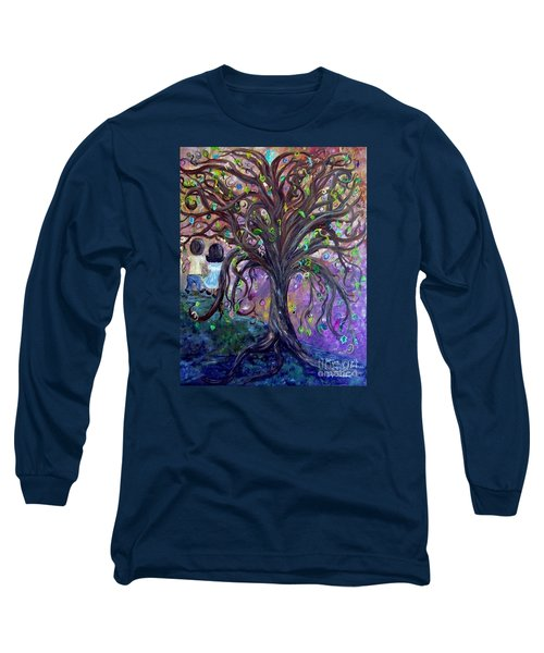 Long Sleeve T-Shirt featuring the painting Children Under The Fantasy Tree With Jackie Joyner-kersee by Eloise Schneider