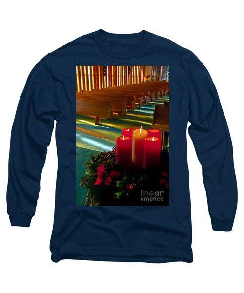 Christmas Candles At Church Art Prints Long Sleeve T-Shirt by Valerie Garner