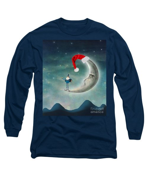 Christmas Moon Long Sleeve T-Shirt by Juli Scalzi