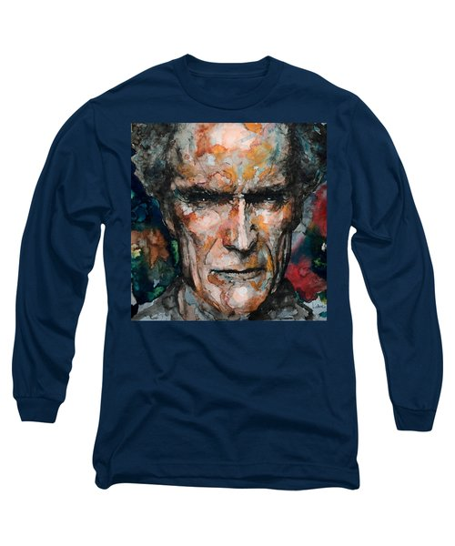Long Sleeve T-Shirt featuring the painting Clint Eastwood by Laur Iduc