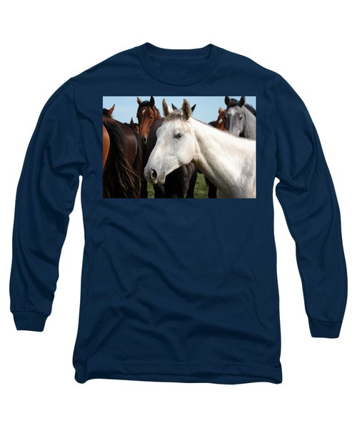 Close-up Herd Of Horses. Long Sleeve T-Shirt