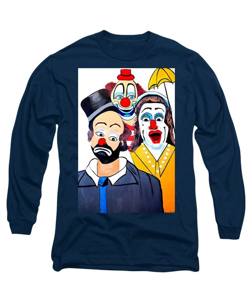 Long Sleeve T-Shirt featuring the painting Clowns In Shock by Nora Shepley
