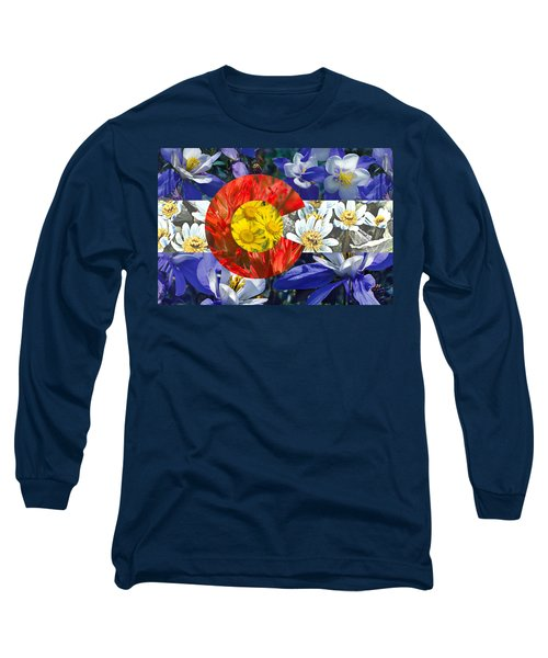 Colorado State Flag With Wildflower Textures Long Sleeve T-Shirt