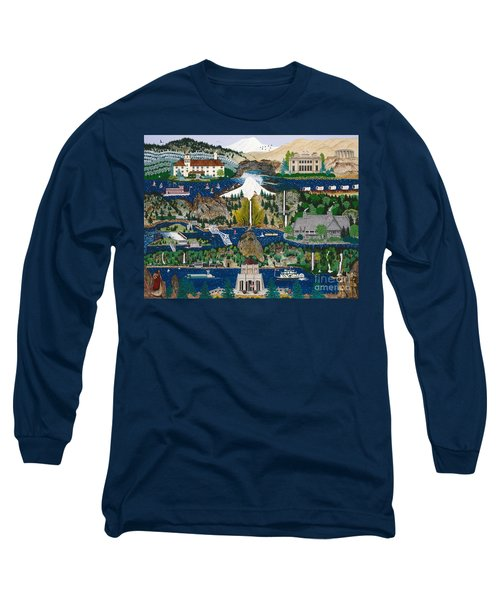 Long Sleeve T-Shirt featuring the painting Columbia River Gorge by Jennifer Lake