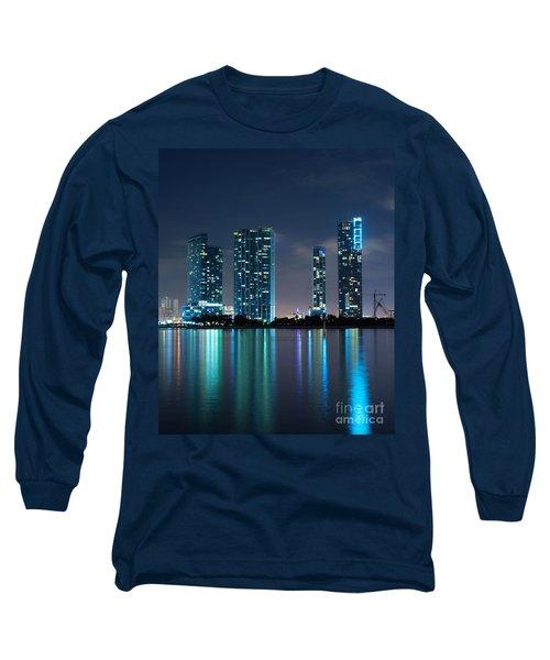 Condominium Buildings In Miami Long Sleeve T-Shirt by Carsten Reisinger