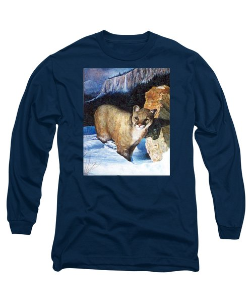 Cougar In Snow Long Sleeve T-Shirt