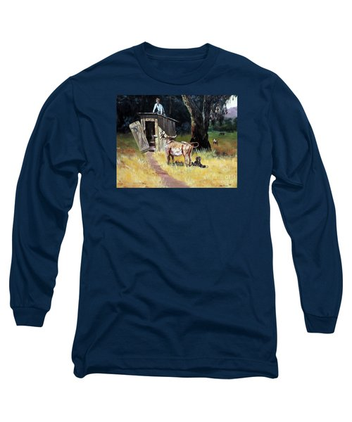Cowboy On The Outhouse  Long Sleeve T-Shirt by Lee Piper