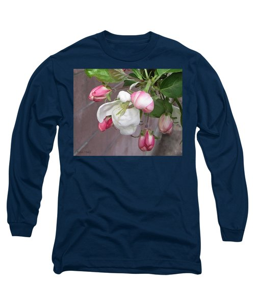 Long Sleeve T-Shirt featuring the digital art Crabapple Blossoms Miniature by Donald S Hall