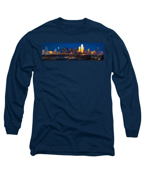 Dallas Skyline Panorama Long Sleeve T-Shirt by Inge Johnsson