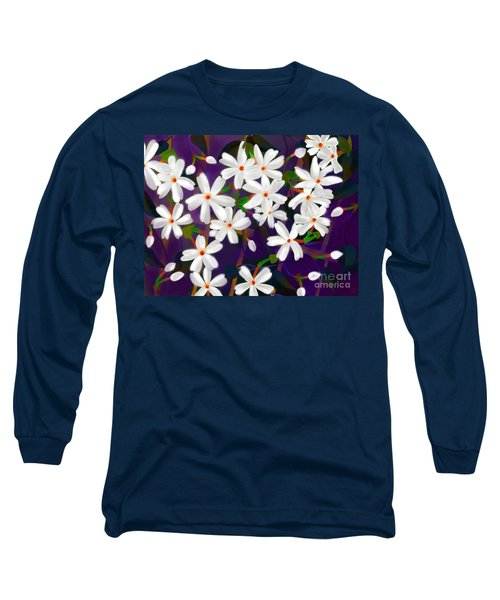 Long Sleeve T-Shirt featuring the digital art Dancing Coral Jasmines by Latha Gokuldas Panicker