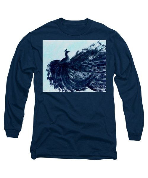 Dancing Peacock Aqua Long Sleeve T-Shirt by Anita Lewis