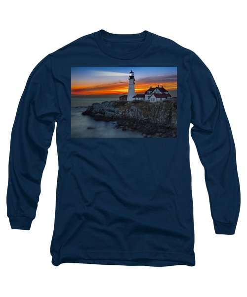 Long Sleeve T-Shirt featuring the photograph Dawn At Portalnd Head Light by Susan Candelario