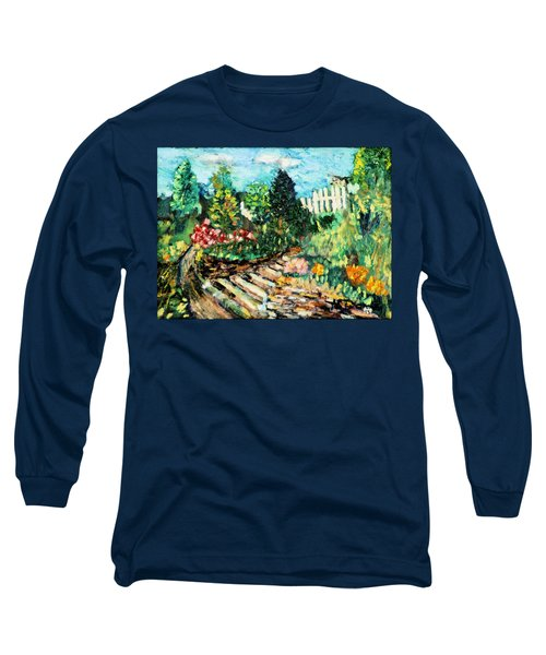 Long Sleeve T-Shirt featuring the painting Delphi Garden by Michael Daniels