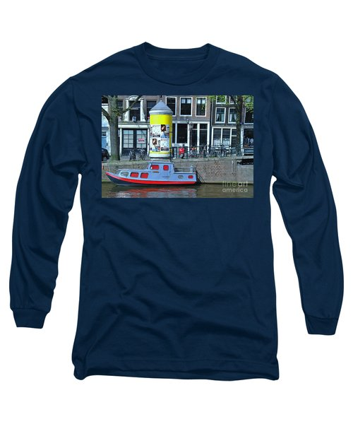Long Sleeve T-Shirt featuring the photograph Docked In Amsterdam by Allen Beatty