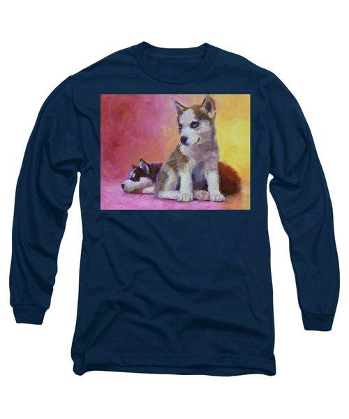 Double Trouble - Alaskan Husky Sled Dog Puppies Long Sleeve T-Shirt