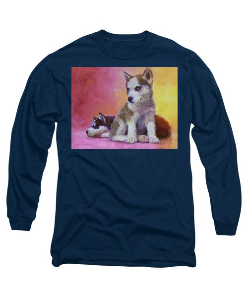 Double Trouble - Alaskan Husky Sled Dog Puppies Long Sleeve T-Shirt