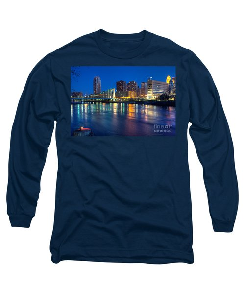 Downtown Minneapolis Skyline Hennepin Avenue Bridge Long Sleeve T-Shirt