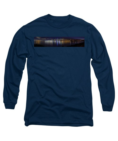 Downtown Vancouver Skyline By Night Long Sleeve T-Shirt