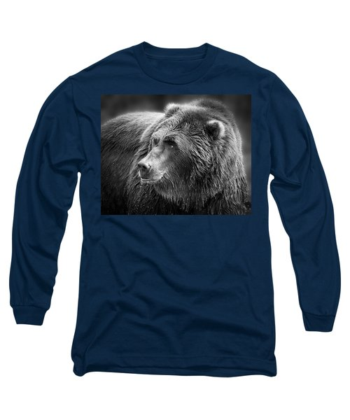 Drinking Grizzly Bear Black And White Long Sleeve T-Shirt by Steve McKinzie