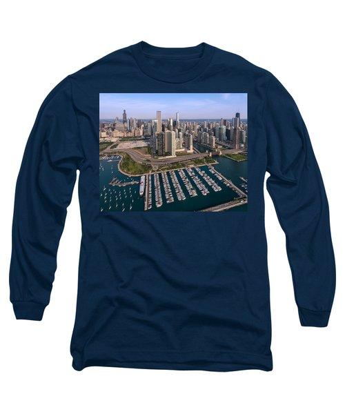 Dusable Harbor Chicago Long Sleeve T-Shirt
