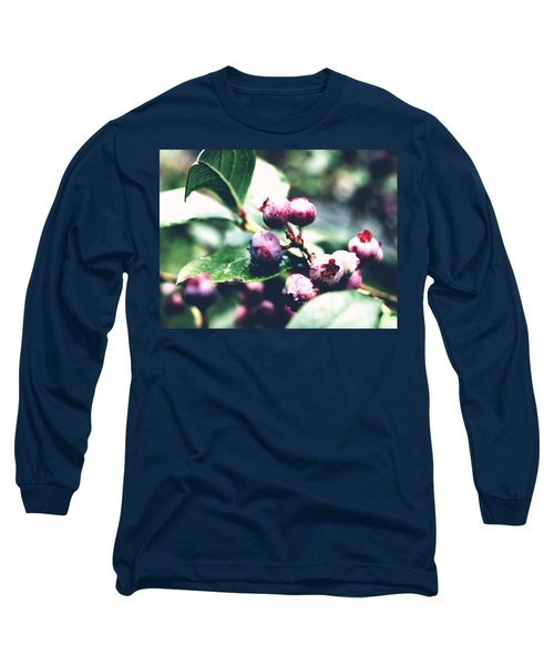 Early Blueberries Long Sleeve T-Shirt by Rachel Mirror