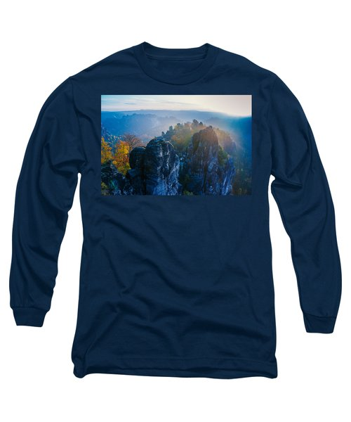 Early Morning Mist At The Bastei In The Saxon Switzerland Long Sleeve T-Shirt