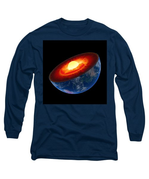 Earth Core Structure To Scale - Isolated Long Sleeve T-Shirt