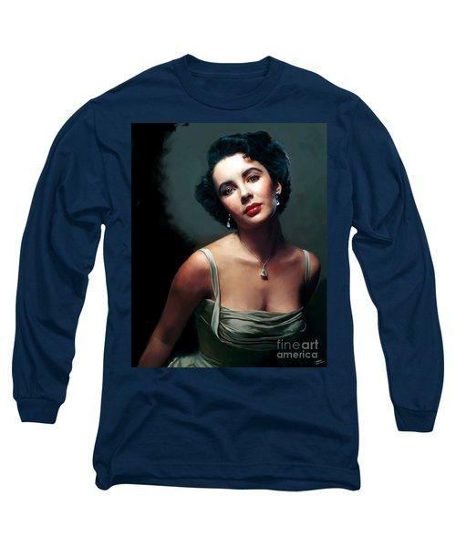 Elizabeth Taylor Long Sleeve T-Shirt by Paul Tagliamonte