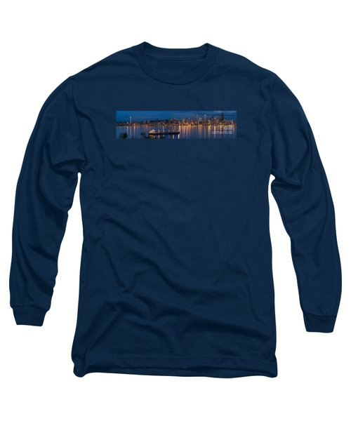 Elliott Bay Seattle Skyline Night Reflections  Long Sleeve T-Shirt